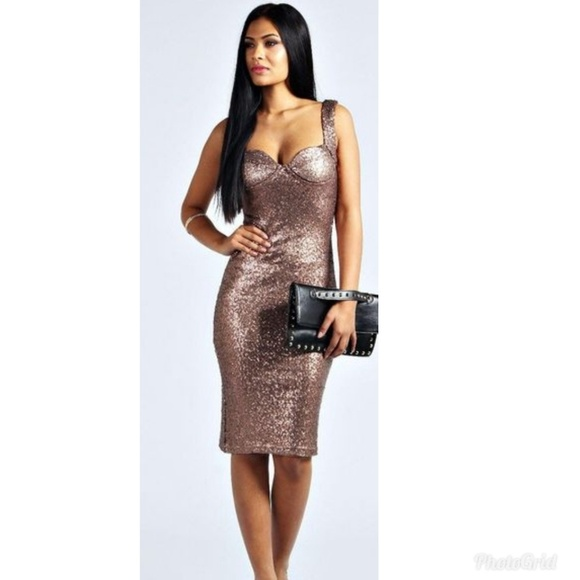 c18afe2b9074 Brown Sequin Sexy Bodycon Dress